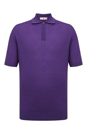 Мужское шерстяное поло LUCIANO BARBERA фиолетового цвета, арт. 109779/51078/58-62 | Фото 1