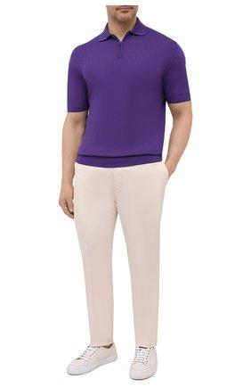 Мужское шерстяное поло LUCIANO BARBERA фиолетового цвета, арт. 109779/51078/58-62 | Фото 2