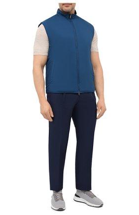 Мужские брюки из шерсти и льна LUCIANO BARBERA темно-синего цвета, арт. 114611/45022/58-62 | Фото 2