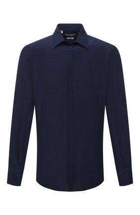 Мужская шелковая рубашка DOLCE & GABBANA синего цвета, арт. G5GE6T/IS1GW   Фото 1