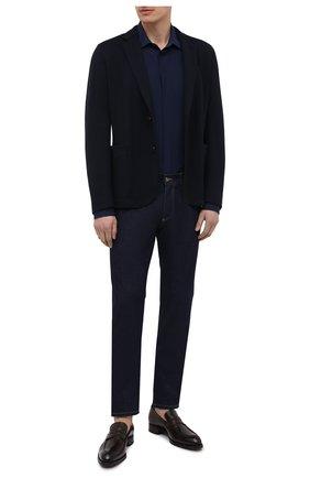 Мужская шелковая рубашка DOLCE & GABBANA синего цвета, арт. G5GE6T/IS1GW   Фото 2