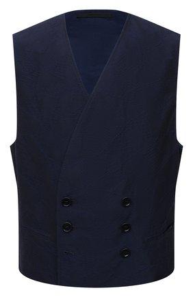 Мужской жилет из хлопка и вискозы GIORGIO ARMANI темно-синего цвета, арт. 1SGGK024/T02LD | Фото 1 (Материал подклада: Купро; Материал внешний: Вискоза, Хлопок; Стили: Классический; Мужское Кросс-КТ: Жилет-классика; Длина (верхняя одежда): Короткие)