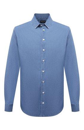 Мужская джинсовая рубашка GIORGIO ARMANI голубого цвета, арт. 3KSC62/SD0VZ   Фото 1