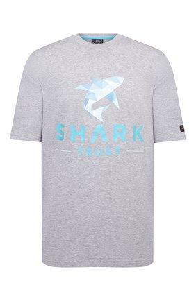 Мужская хлопковая футболка PAUL&SHARK серого цвета, арт. 21411013/C00/3XL-6XL   Фото 1