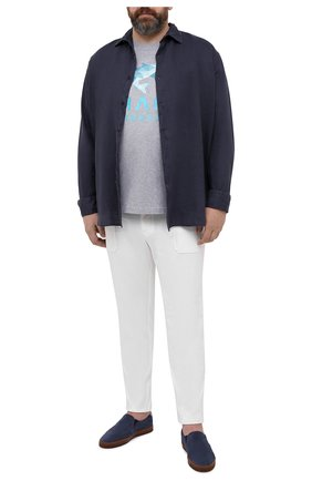 Мужская хлопковая футболка PAUL&SHARK серого цвета, арт. 21411013/C00/3XL-6XL   Фото 2