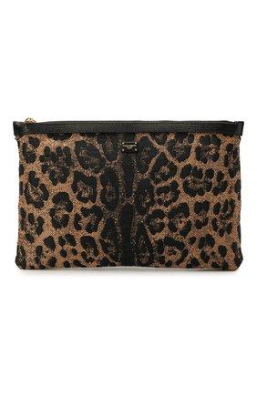 Женская текстильная косметичка DOLCE & GABBANA леопардового цвета, арт. BI1184/AX383   Фото 1