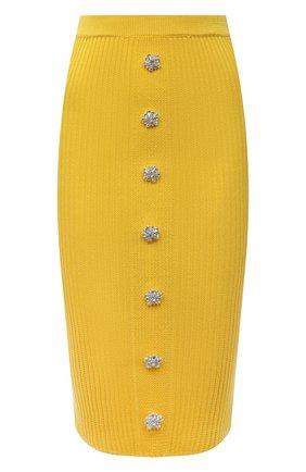 Женская хлопковая юбка GIUSEPPE DI MORABITO желтого цвета, арт. SS21074KN-79 | Фото 1
