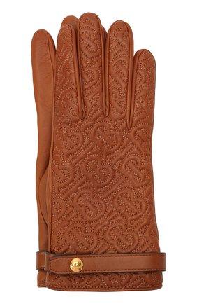 Женские кожаные перчатки BURBERRY коричневого цвета, арт. 8024984 | Фото 1