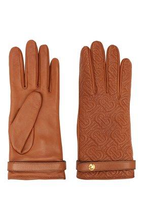 Женские кожаные перчатки BURBERRY коричневого цвета, арт. 8024984 | Фото 2