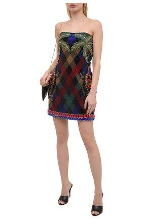 Женское платье из вискозы BALMAIN разноцветного цвета, арт. VF16040/P067   Фото 2 (Длина Ж (юбки, платья, шорты): Мини; Женское Кросс-КТ: Платье-одежда; Материал подклада: Синтетический материал; Материал внешний: Вискоза; Случай: Коктейльный, Вечерний; Стили: Гламурный; Рукава: С открытыми плечами)
