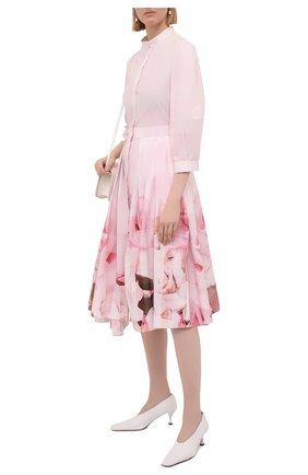 Женское хлопковое платье ALEXANDER MCQUEEN светло-розового цвета, арт. 651669/QCACE   Фото 2 (Случай: Повседневный; Рукава: 3/4; Длина Ж (юбки, платья, шорты): Миди; Стили: Романтичный; Материал внешний: Хлопок; Женское Кросс-КТ: Платье-одежда)