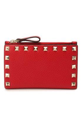 Женский кожаный футляр для кредитных карт rockstud VALENTINO красного цвета, арт. VW0P0605/VSH   Фото 1