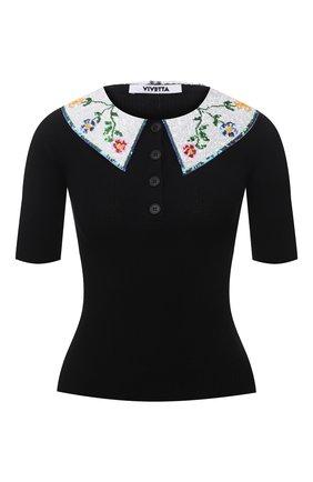 Женский хлопковый пуловер VIVETTA черного цвета, арт. 21E V2M0/A006/7526 | Фото 1