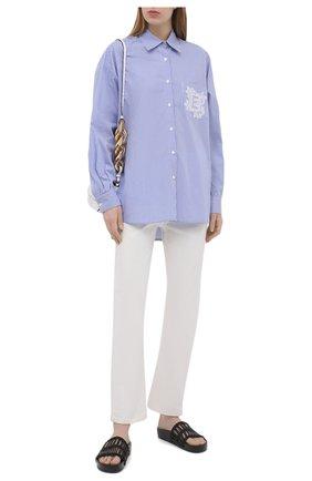 Женская хлопковая рубашка ERMANNO FIRENZE голубого цвета, арт. D38ET CM25RIG | Фото 2