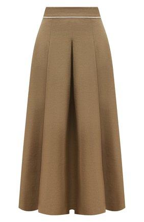 Женская льняная юбка LORO PIANA коричневого цвета, арт. FAL6345 | Фото 1