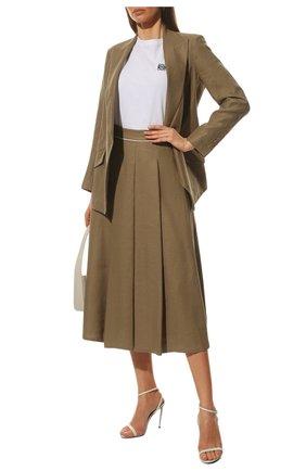 Женская льняная юбка LORO PIANA коричневого цвета, арт. FAL6345 | Фото 2
