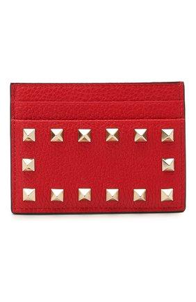 Женский кожаный футляр для кредитных карт rockstud VALENTINO красного цвета, арт. VW0P0486/VSH   Фото 1