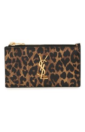 Женский кожаный футляр для кредитных карт classic SAINT LAURENT леопардового цвета, арт. 611558/2QJ0J | Фото 1