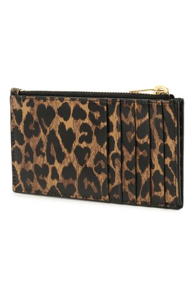 Женский кожаный футляр для кредитных карт classic SAINT LAURENT леопардового цвета, арт. 611558/2QJ0J | Фото 2