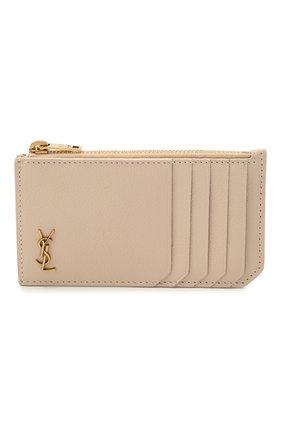 Женский кожаный футляр для кредитных карт rive gauche SAINT LAURENT бежевого цвета, арт. 637425/15B0W   Фото 1