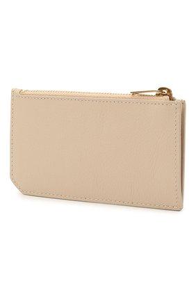 Женский кожаный футляр для кредитных карт rive gauche SAINT LAURENT бежевого цвета, арт. 637425/15B0W   Фото 2
