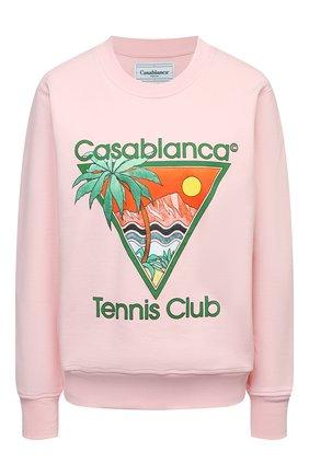 Женский хлопковый свитшот CASABLANCA розового цвета, арт. WS21-JTP-019 PINK TENNIS CLUB IC0N | Фото 1