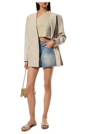 Женские джинсовые шорты EMPORIO ARMANI голубого цвета, арт. 3K2J59/2DF7Z   Фото 2