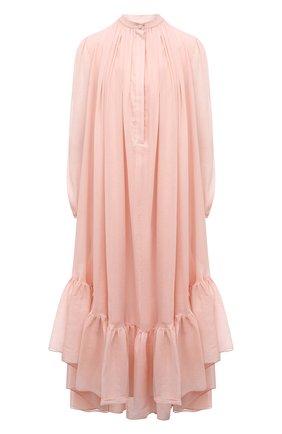 Женское хлопковое платье ALEXANDER MCQUEEN светло-розового цвета, арт. 657429/QAAAZ | Фото 1