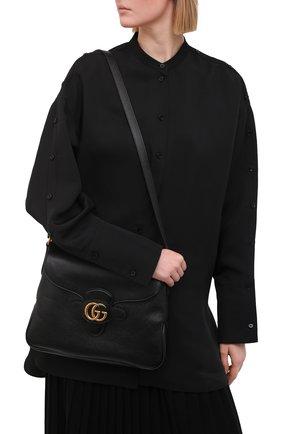 Женская сумка dahlia medium GUCCI черного цвета, арт. 648933/1U10T   Фото 2 (Сумки-технические: Сумки через плечо; Размер: medium; Ремень/цепочка: На ремешке; Материал: Натуральная кожа)