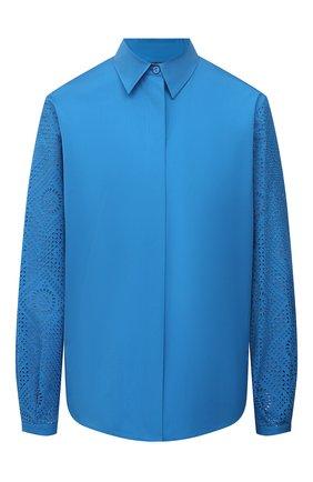 Женская хлопковая рубашка LORO PIANA синего цвета, арт. FAL5911 | Фото 1