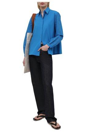 Женская хлопковая рубашка LORO PIANA синего цвета, арт. FAL5911 | Фото 2