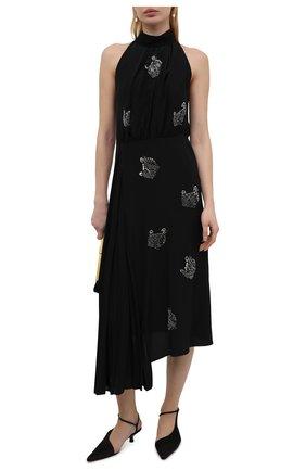 Женское шелковое платье LANVIN черного цвета, арт. RW-DR337X-4868-P21 | Фото 2