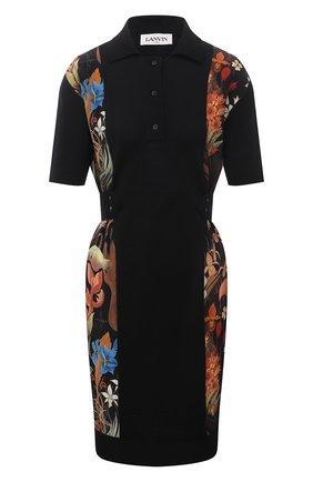 Женское шерстяное платье LANVIN черного цвета, арт. RW-DR0022-K103-E21 | Фото 1