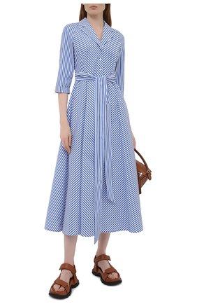 Женское хлопковое платье WEILL синего цвета, арт. 145105 | Фото 2