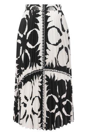 Женская плиссированная юбка REDVALENTINO черно-белого цвета, арт. VR0RAF95/5SA   Фото 1 (Длина Ж (юбки, платья, шорты): Миди; Женское Кросс-КТ: юбка-плиссе, Юбка-одежда; Стили: Романтичный; Материал внешний: Хлопок, Синтетический материал)