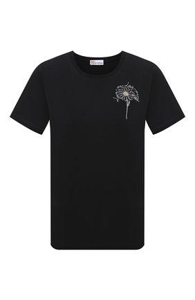 Женская хлопковая футболка REDVALENTINO черного цвета, арт. VR0MG09V/5VU   Фото 1 (Принт: С принтом; Материал внешний: Хлопок; Длина (для топов): Стандартные; Стили: Кэжуэл; Рукава: Короткие; Женское Кросс-КТ: Футболка-одежда)