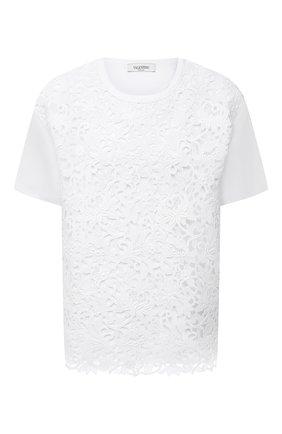 Женская хлопковая футболка VALENTINO белого цвета, арт. VB0MG12W6EF | Фото 1