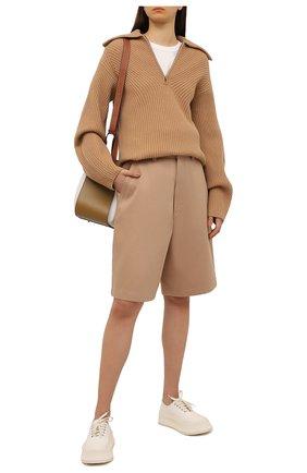 Женские хлопковые шорты AMI бежевого цвета, арт. E21FT701.280 | Фото 2