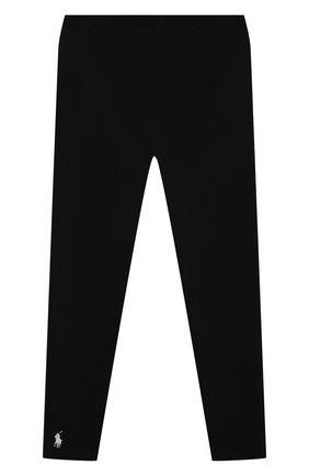 Детские хлопковые леггинсы POLO RALPH LAUREN черного цвета, арт. 313552479/006 | Фото 1