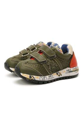 Детские кожаные кроссовки PREMIATA WILL BE хаки цвета, арт. LUCY V/12-21390/T0D | Фото 1 (Материал внутренний: Натуральная кожа)