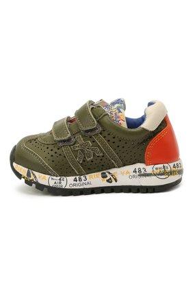 Детские кожаные кроссовки PREMIATA WILL BE хаки цвета, арт. LUCY V/12-21390/T0D | Фото 2 (Материал внутренний: Натуральная кожа)