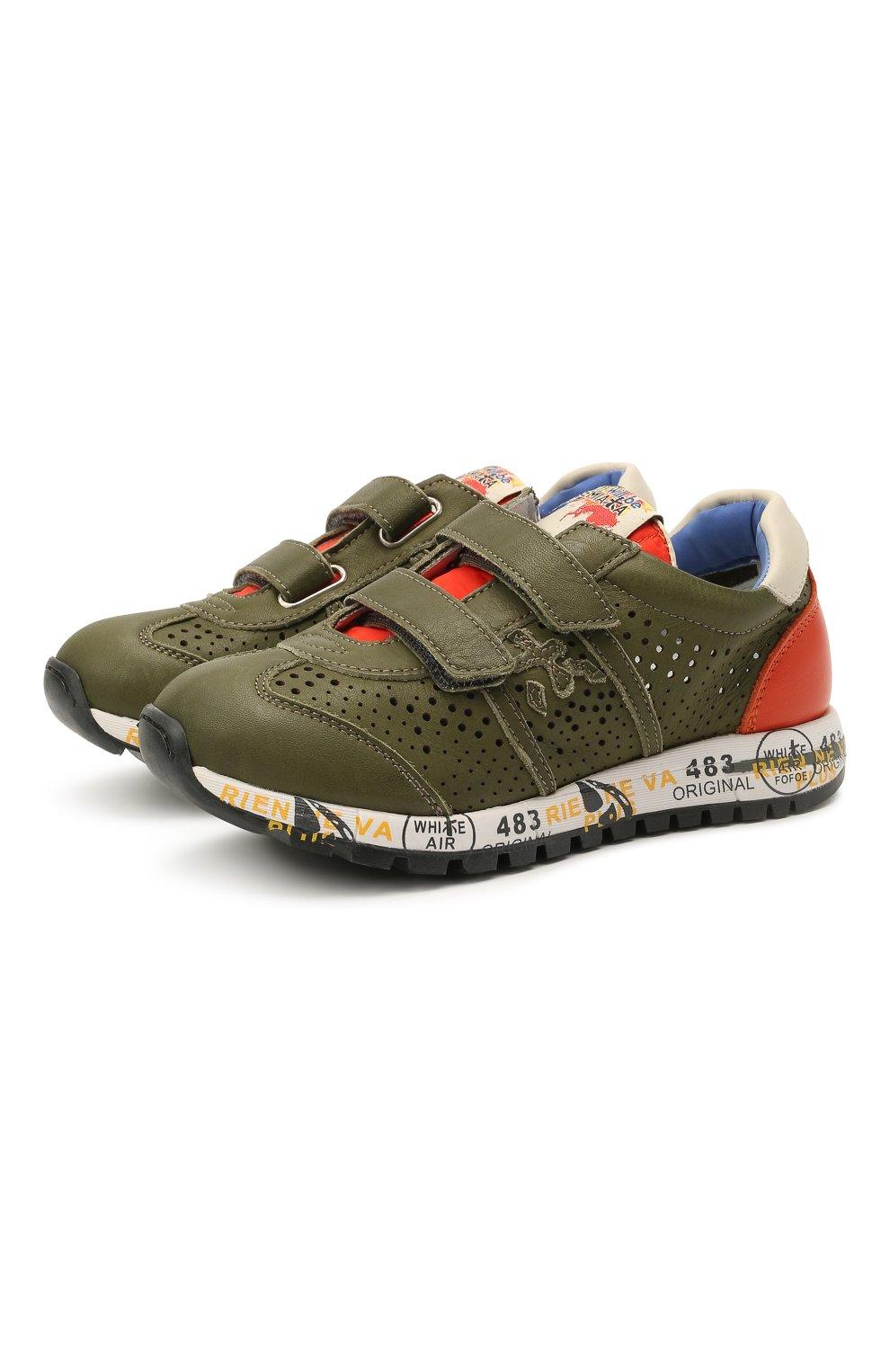 Детские кожаные кроссовки PREMIATA WILL BE хаки цвета, арт. LUCY V/12-21390/CHILD | Фото 1 (Материал внутренний: Натуральная кожа; Кросс-КТ: велькро)