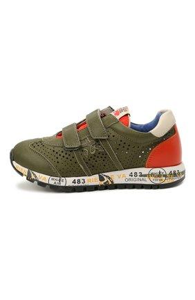 Детские кожаные кроссовки PREMIATA WILL BE хаки цвета, арт. LUCY V/12-21390/CHILD | Фото 2 (Материал внутренний: Натуральная кожа; Кросс-КТ: велькро)