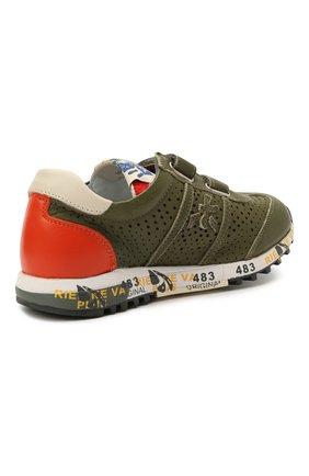 Детские кожаные кроссовки PREMIATA WILL BE хаки цвета, арт. LUCY V/12-21390/CHILD | Фото 3 (Материал внутренний: Натуральная кожа; Кросс-КТ: велькро)