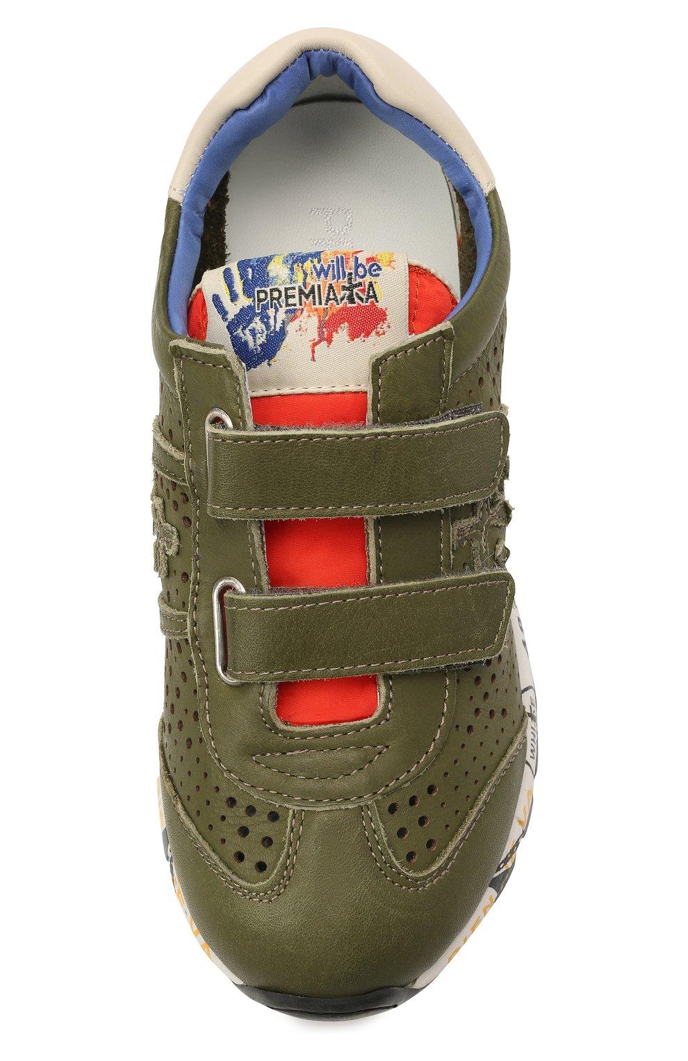 Детские кожаные кроссовки PREMIATA WILL BE хаки цвета, арт. LUCY V/12-21390/CHILD | Фото 4 (Материал внутренний: Натуральная кожа; Кросс-КТ: велькро)