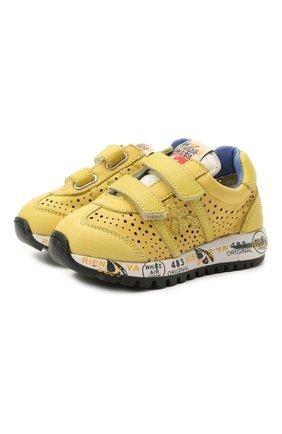 Детские кожаные кроссовки PREMIATA WILL BE желтого цвета, арт. LUCY V/12-21432/T0D | Фото 1