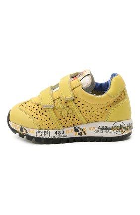 Детские кожаные кроссовки PREMIATA WILL BE желтого цвета, арт. LUCY V/12-21432/T0D | Фото 2