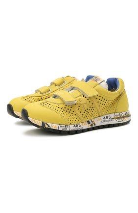 Детские кожаные кроссовки PREMIATA WILL BE желтого цвета, арт. LUCY V/12-21432/CHILD | Фото 1