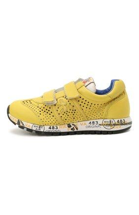 Детские кожаные кроссовки PREMIATA WILL BE желтого цвета, арт. LUCY V/12-21432/CHILD | Фото 2