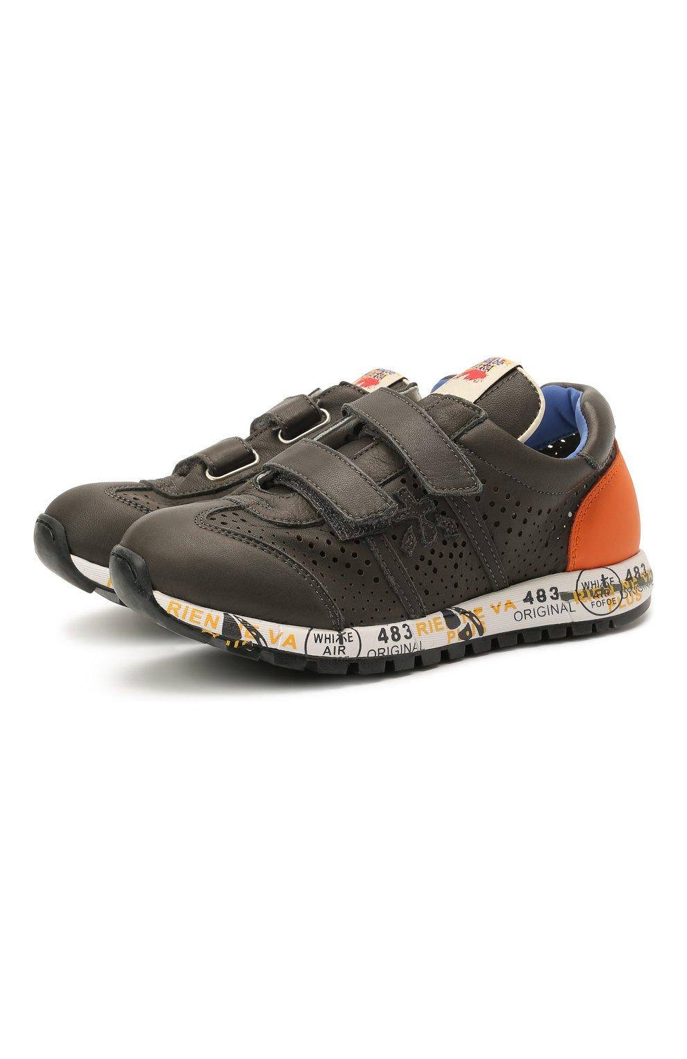 Детские кожаные кроссовки PREMIATA WILL BE серого цвета, арт. LUCY V/12-21462/CHILD | Фото 1 (Материал внутренний: Натуральная кожа)